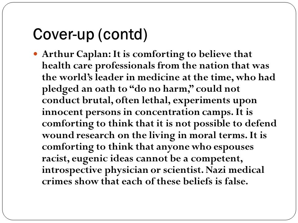 Cover-up (contd)