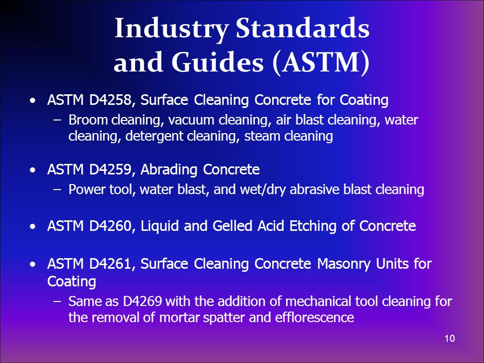 Industry Standards and Guides (ASTM)
