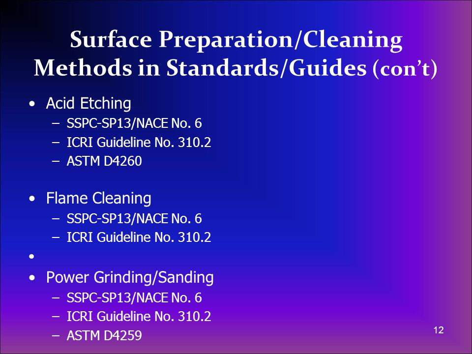 Surface Preparation/Cleaning Methods in Standards/Guides (con't)