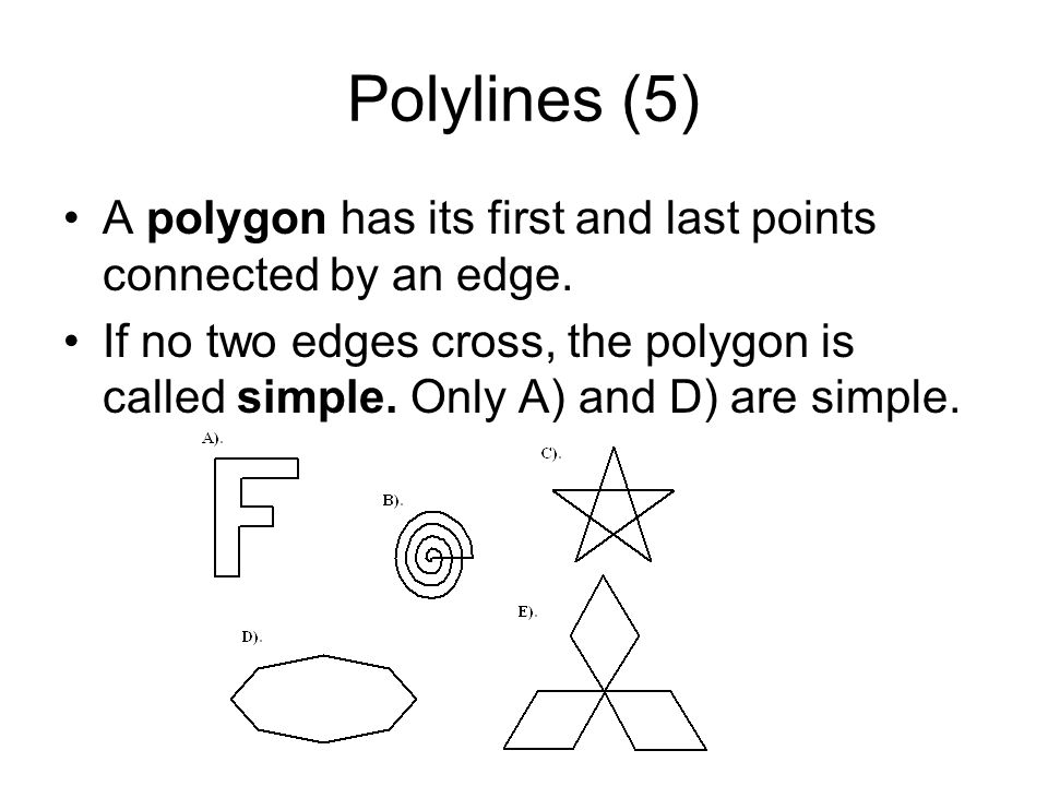 Polylines (5) A polygon has its first and last points connected by an edge.