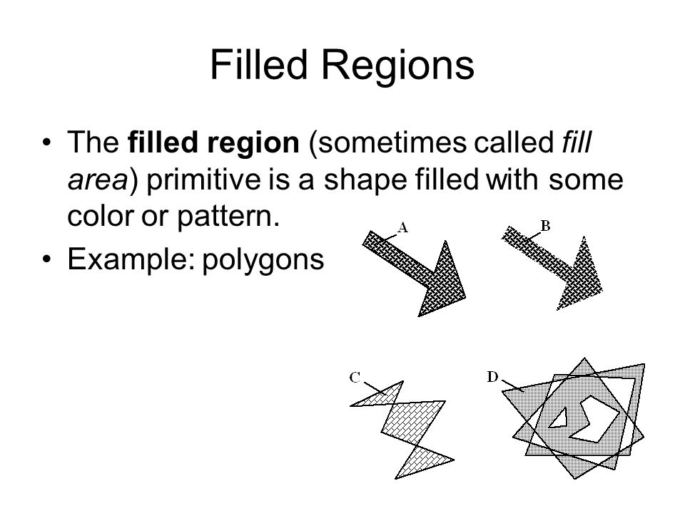 Filled Regions The filled region (sometimes called fill area) primitive is a shape filled with some color or pattern.