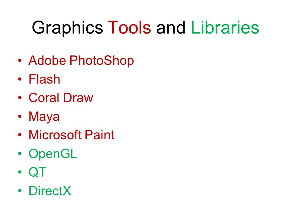 Graphics Tools and Libraries