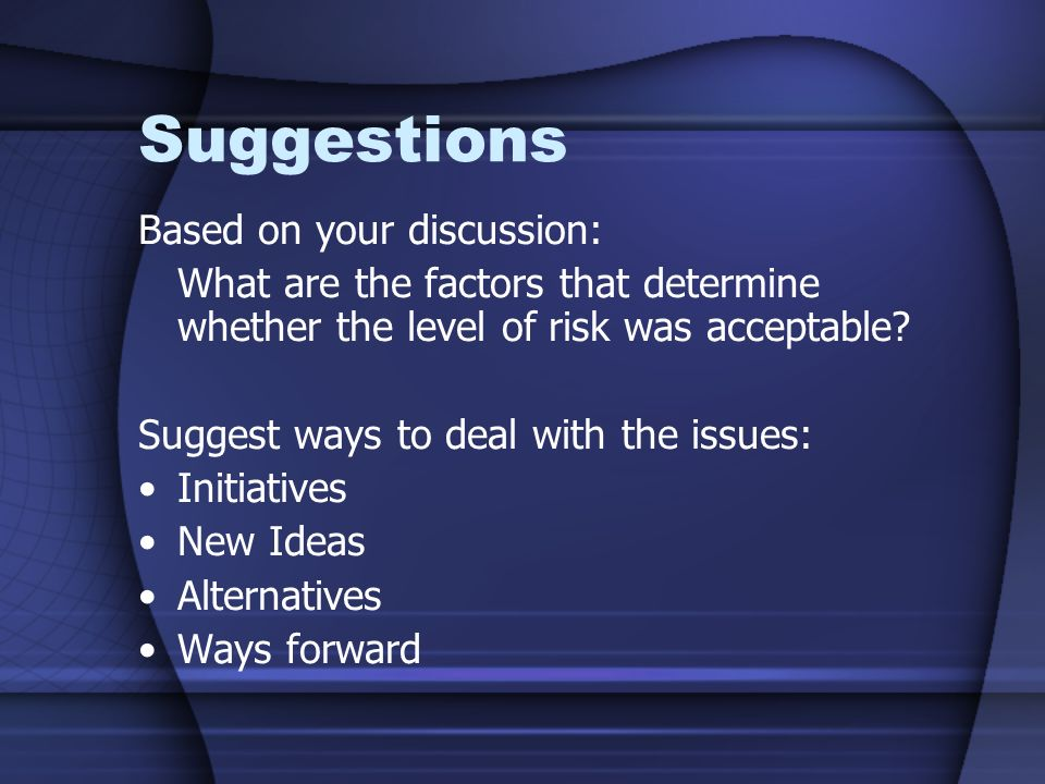 Suggestions Based on your discussion: