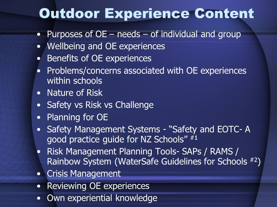 Outdoor Experience Content