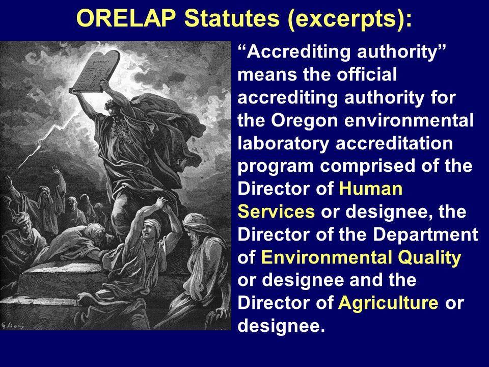ORELAP Statutes (excerpts):