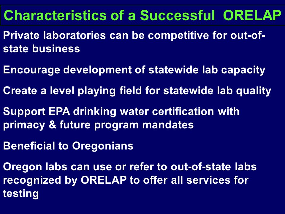 Characteristics of a Successful ORELAP