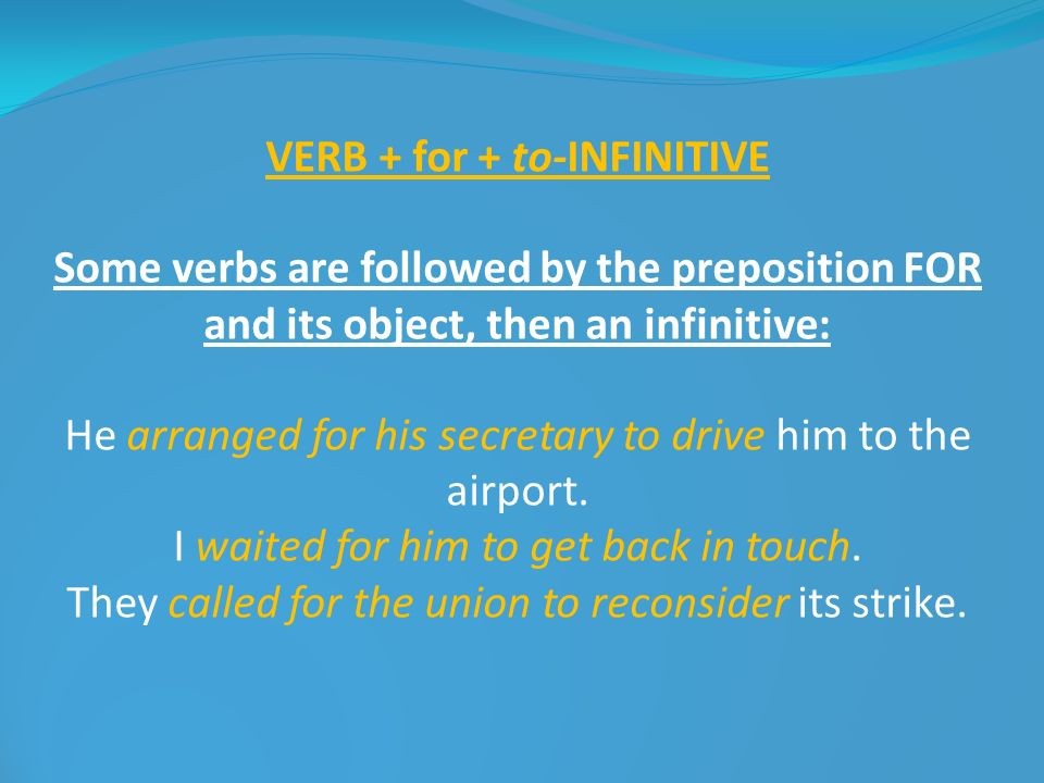VERB + for + to-INFINITIVE