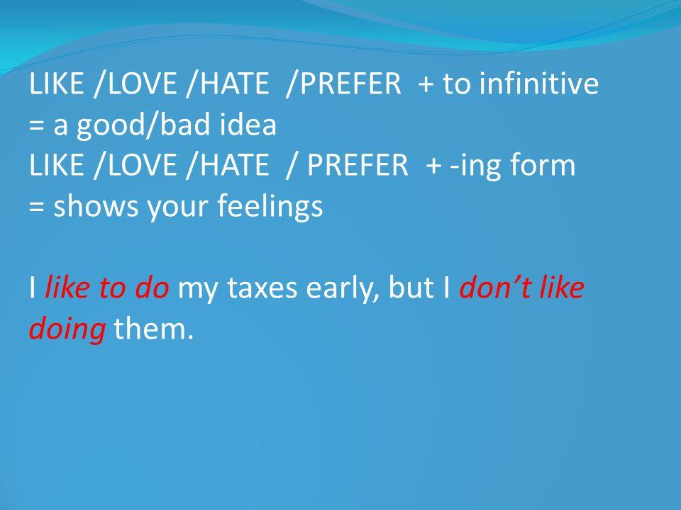 LIKE /LOVE /HATE /PREFER + to infinitive