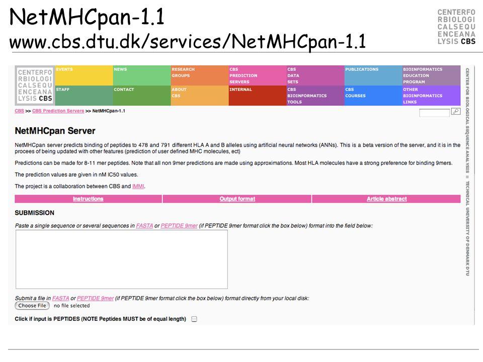 NetMHCpan-1.1 www.cbs.dtu.dk/services/NetMHCpan-1.1