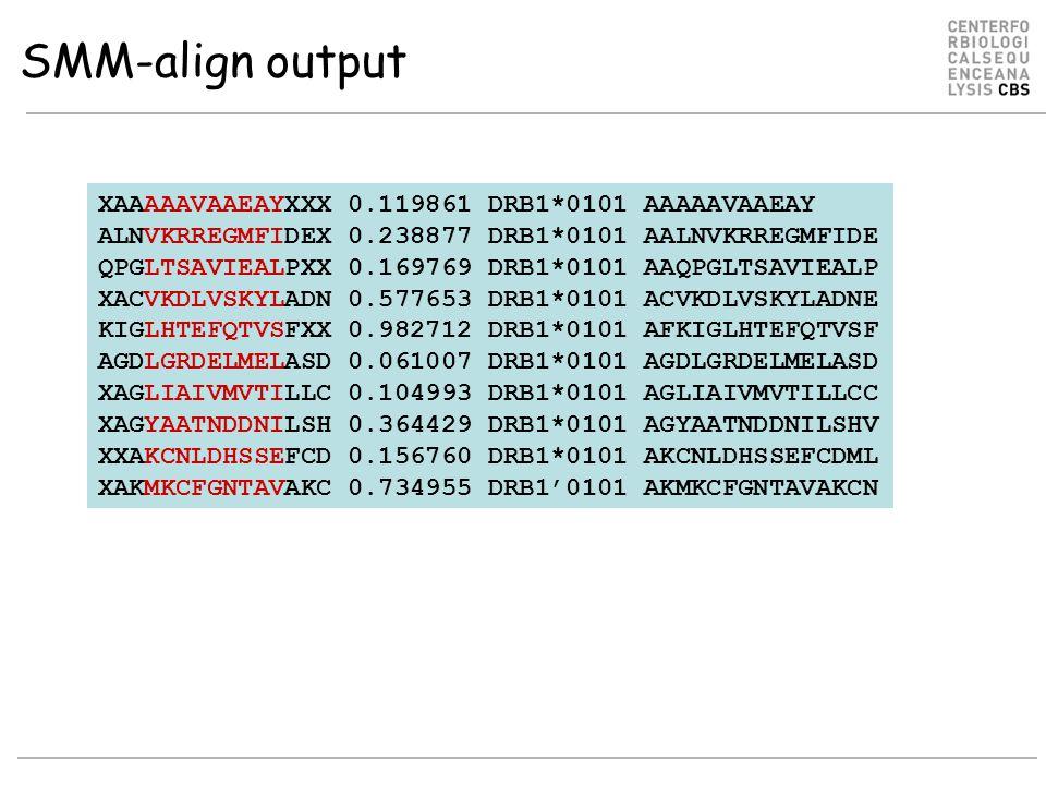 SMM-align output XAAAAAVAAEAYXXX 0.119861 DRB1*0101 AAAAAVAAEAY