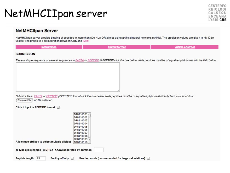 NetMHCIIpan server