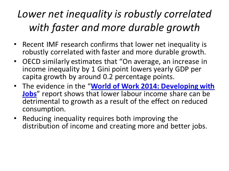 Lower net inequality is robustly correlated with faster and more durable growth