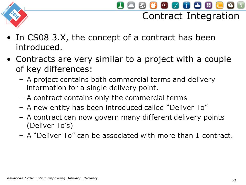 Contract Integration In CS08 3.X, the concept of a contract has been introduced.