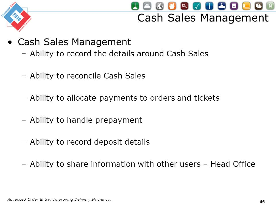 Cash Sales Management Cash Sales Management