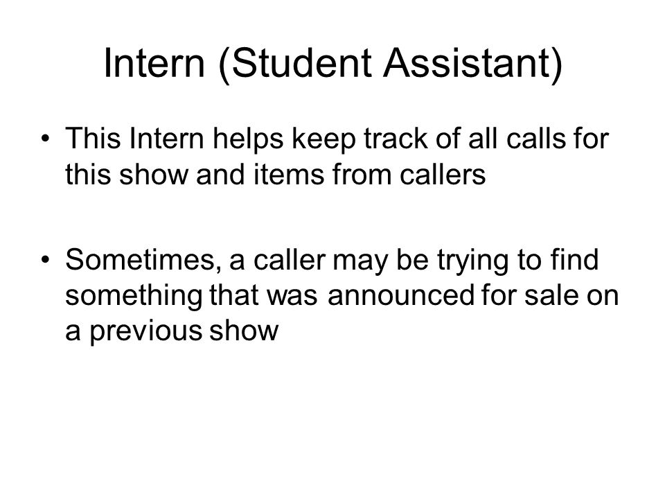 Intern (Student Assistant)