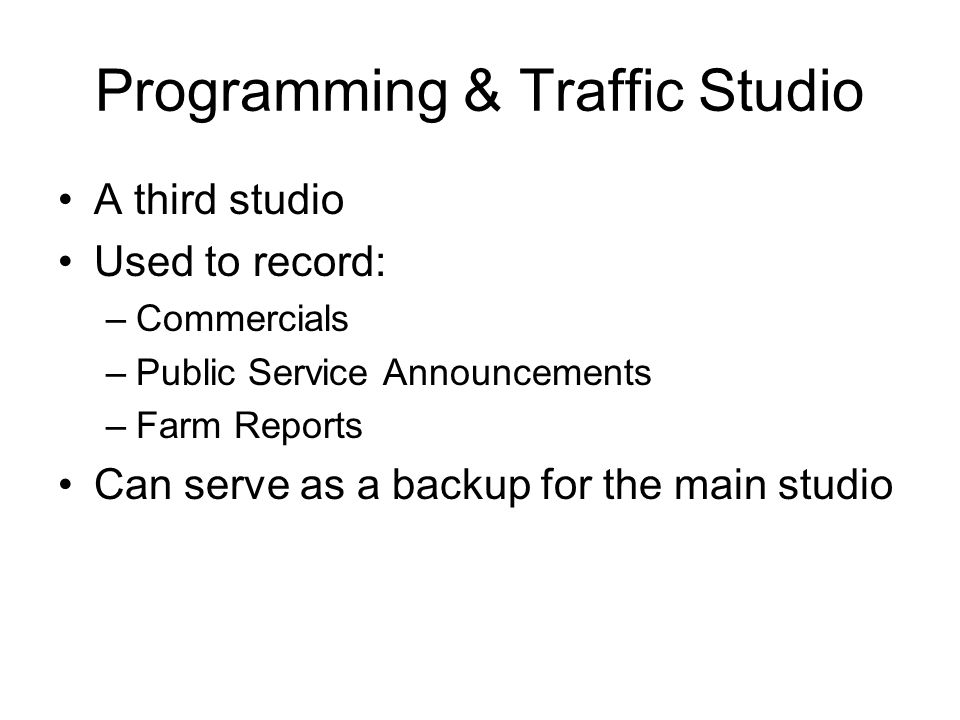 Programming & Traffic Studio