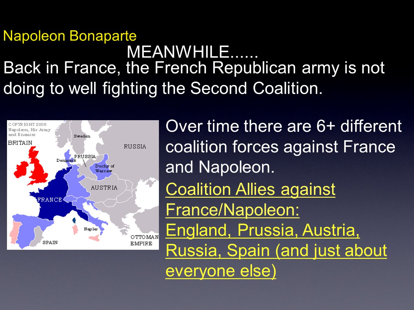 Coalition Allies against France/Napoleon: