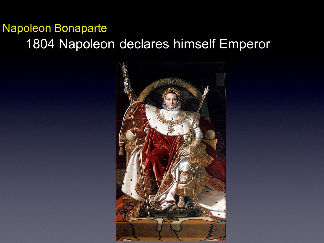 1804 Napoleon declares himself Emperor