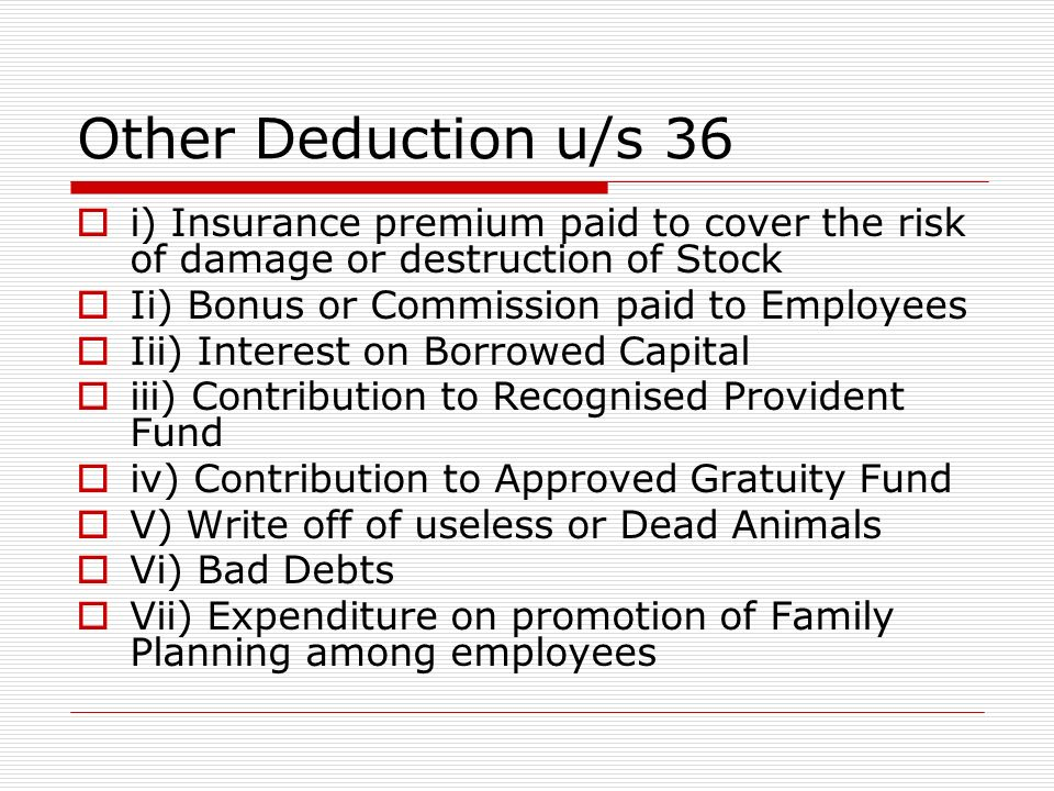 Other Deduction u/s 36 i) Insurance premium paid to cover the risk of damage or destruction of Stock.
