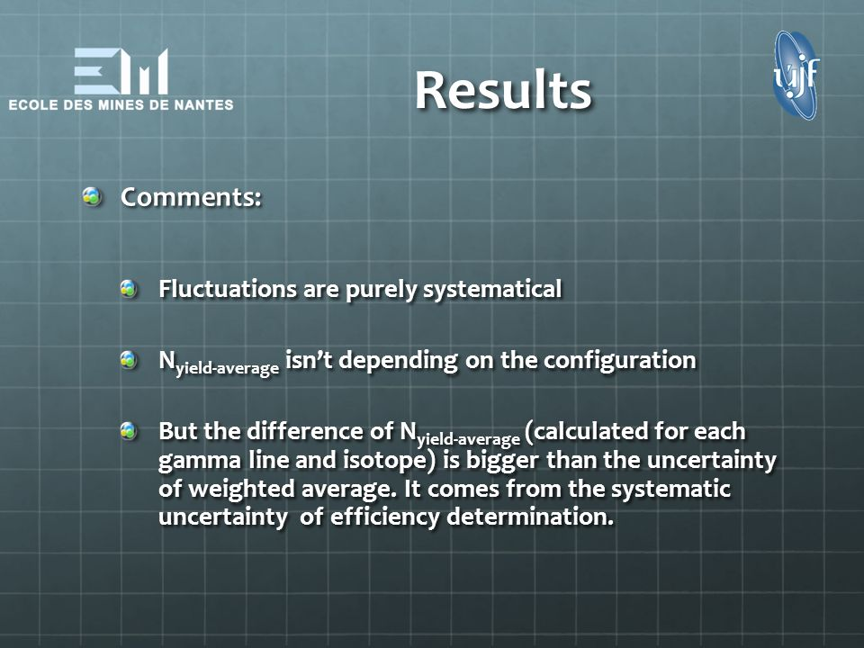 Results Comments: Fluctuations are purely systematical