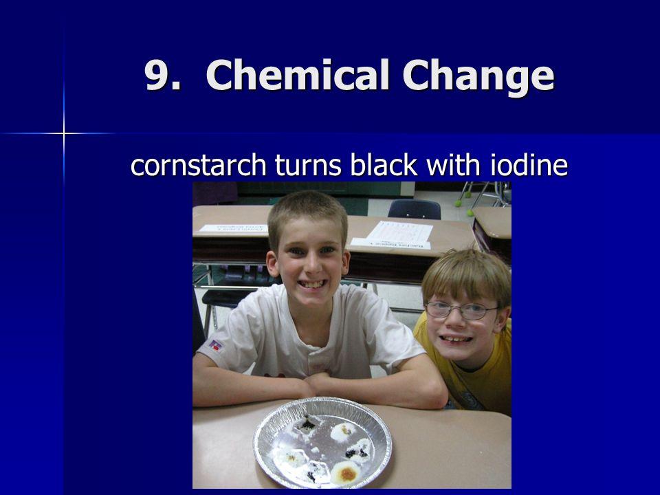 cornstarch turns black with iodine
