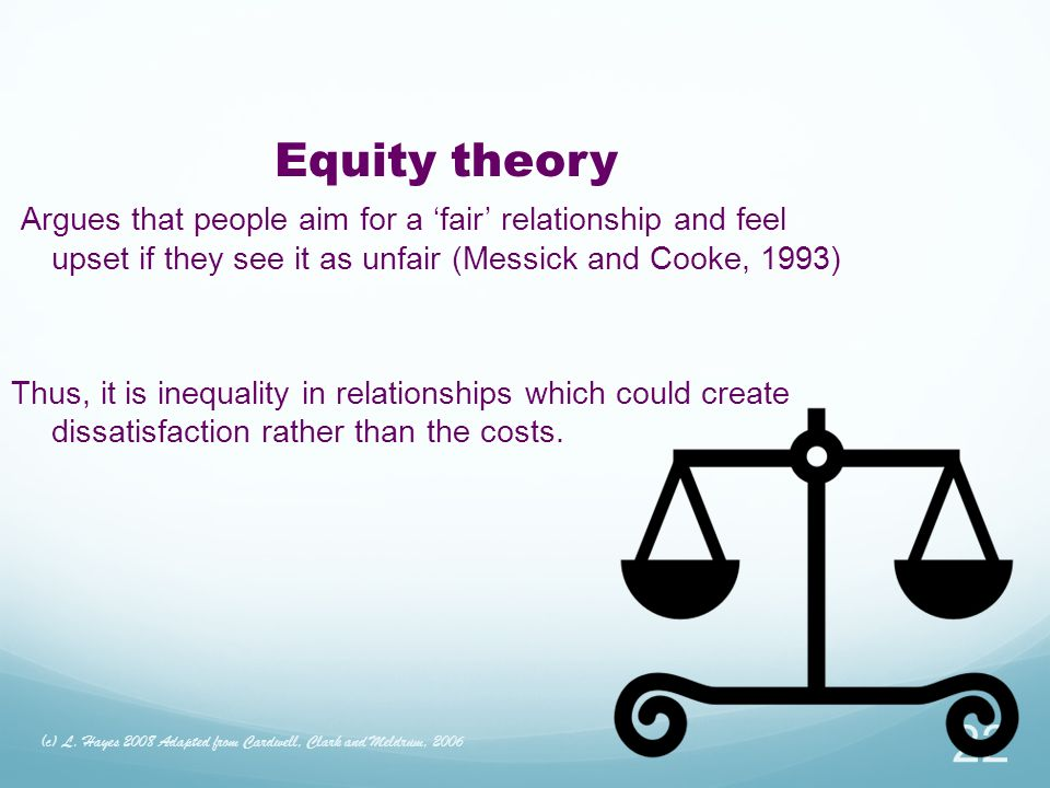 Equity theory Argues that people aim for a 'fair' relationship and feel upset if they see it as unfair (Messick and Cooke, 1993)