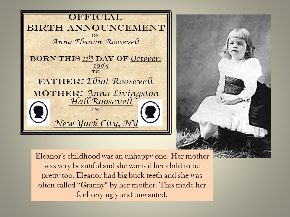 Official Birth Announcement Father: Elliot Roosevelt