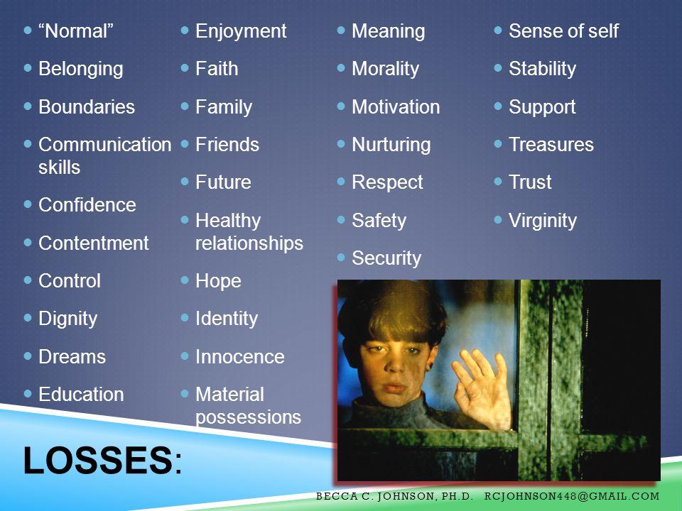 LOSSES: Normal Enjoyment Meaning Sense of self Belonging Faith
