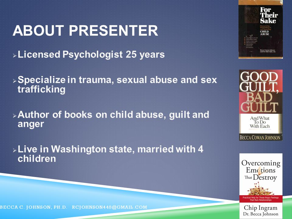 About Presenter Licensed Psychologist 25 years