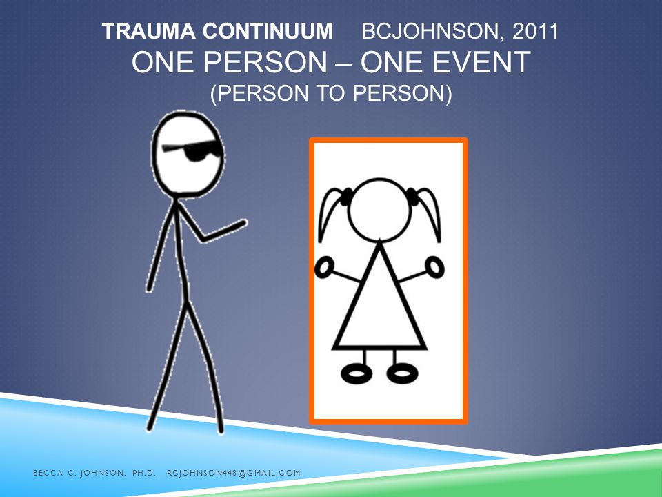 Trauma Continuum BCJohnson, 2011 One Person – One Event (person to person)