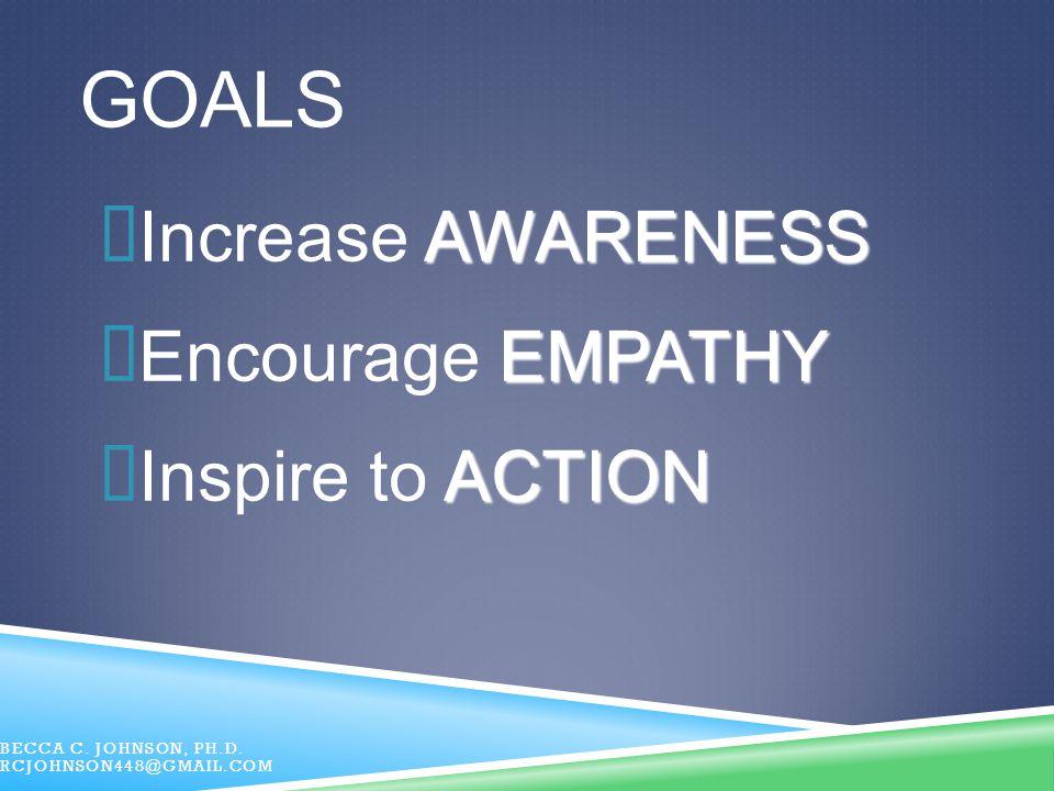 GOALS Increase AWARENESS Encourage EMPATHY Inspire to ACTION