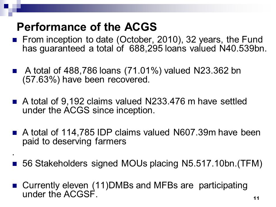 Performance of the ACGS