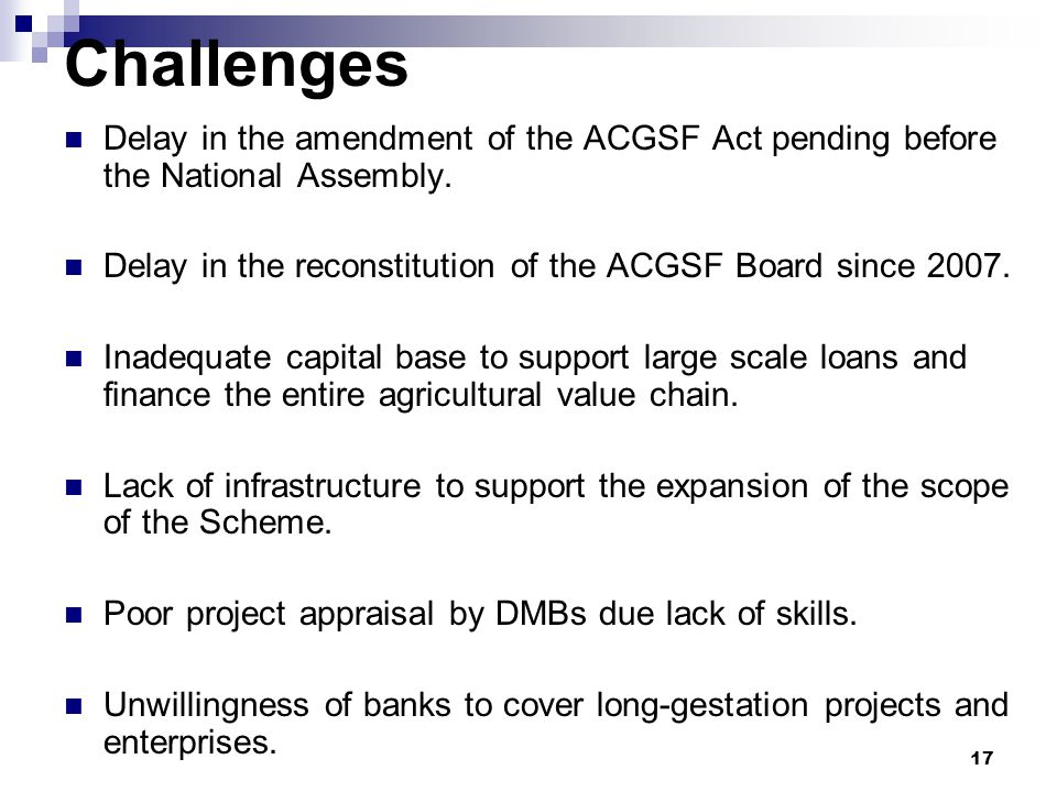 Challenges Delay in the amendment of the ACGSF Act pending before the National Assembly. Delay in the reconstitution of the ACGSF Board since 2007.