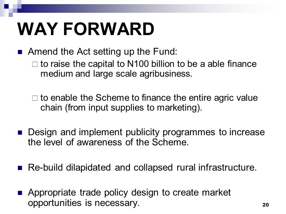 WAY FORWARD Amend the Act setting up the Fund: