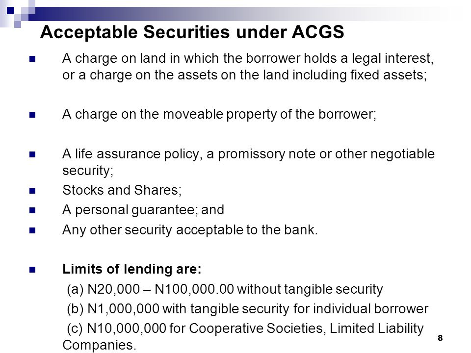 Acceptable Securities under ACGS