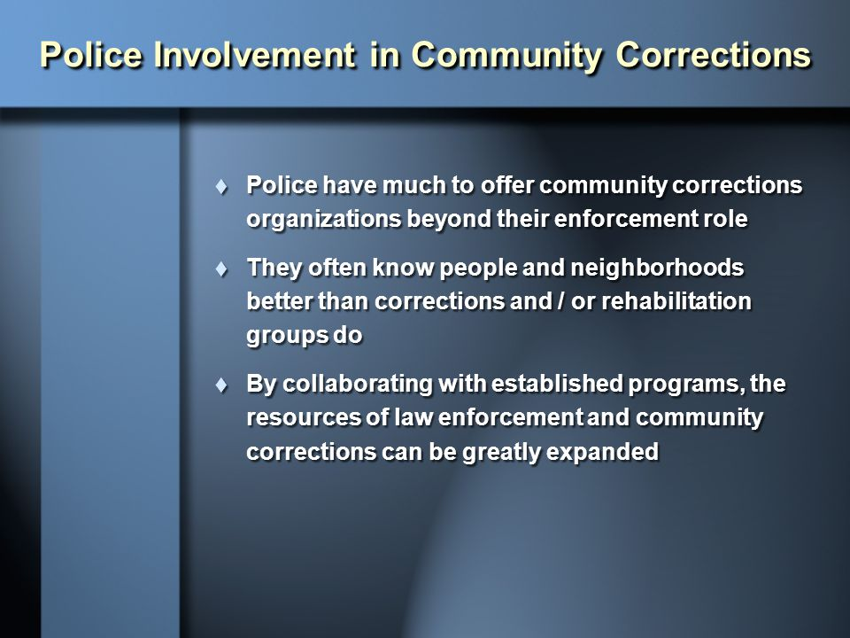 Police Involvement in Community Corrections