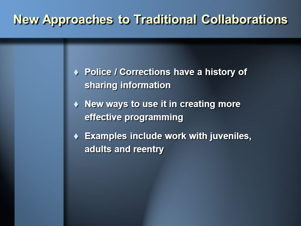 New Approaches to Traditional Collaborations