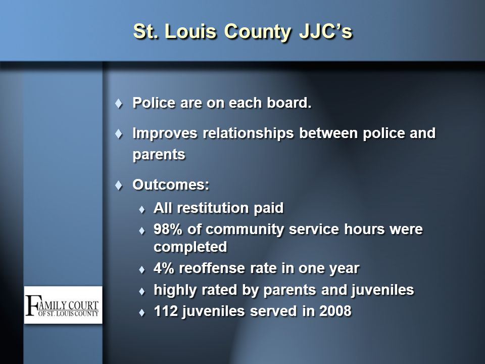 St. Louis County JJC's Police are on each board.