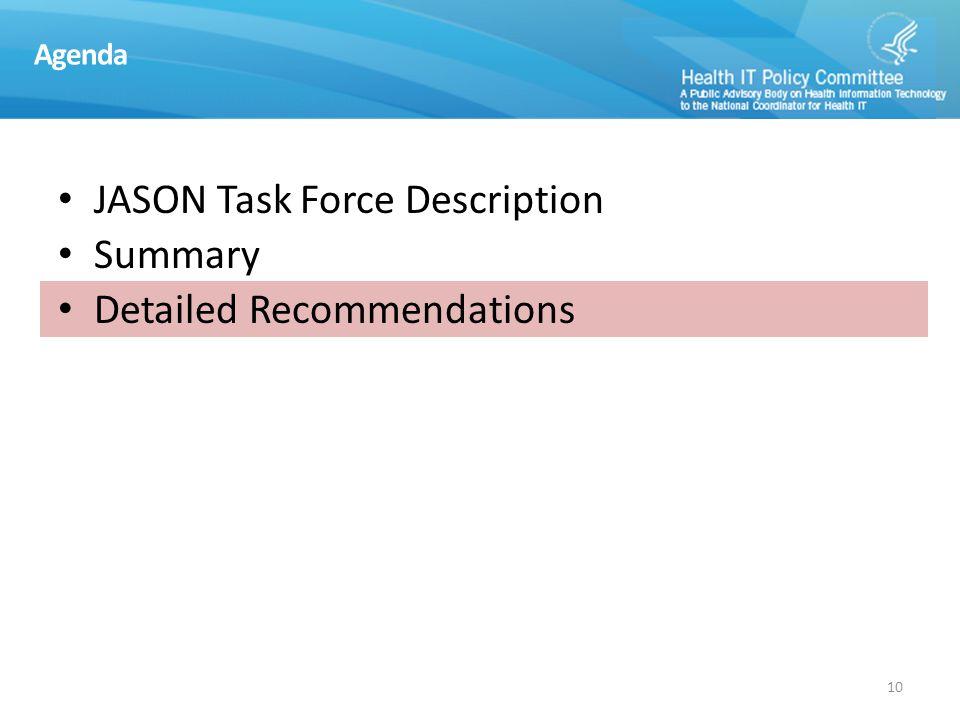 JTF Recommendations: High Level Descriptions
