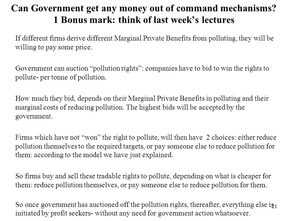 Can Government get any money out of command mechanisms