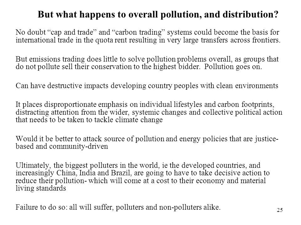 But what happens to overall pollution, and distribution