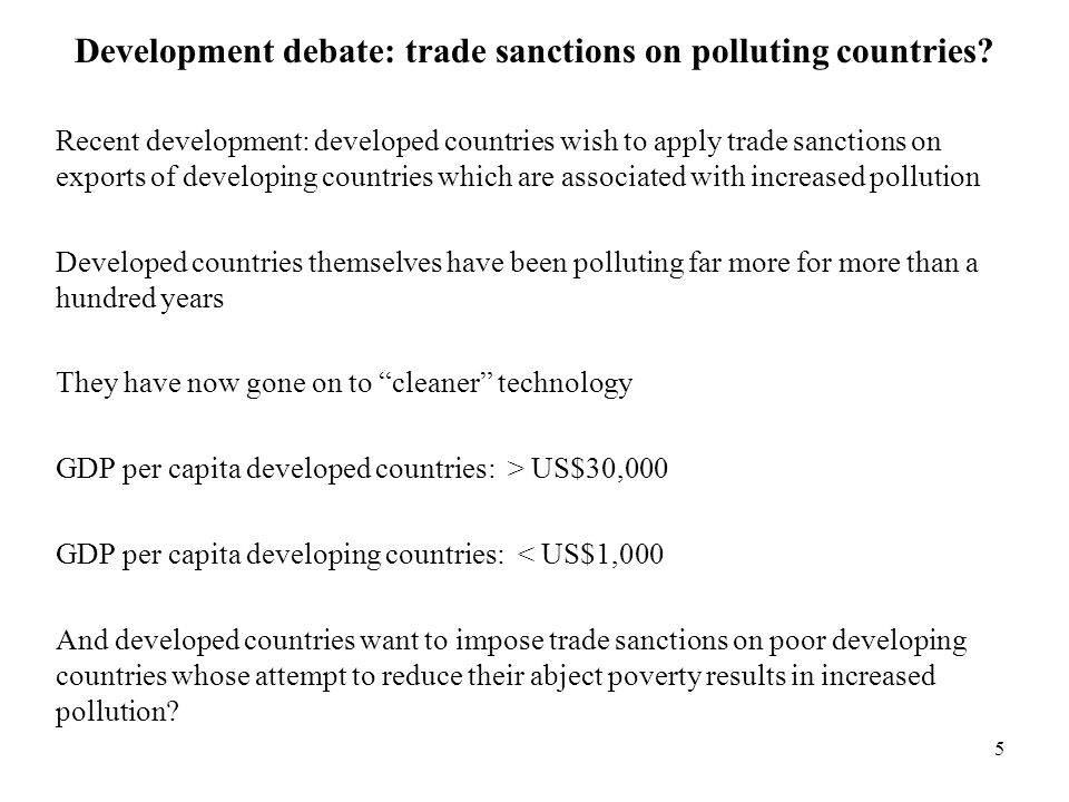 Development debate: trade sanctions on polluting countries