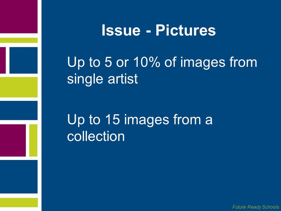 Issue - Pictures Up to 5 or 10% of images from single artist