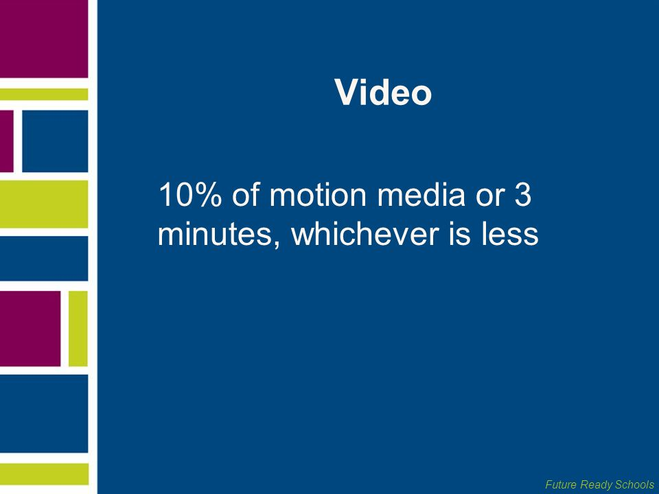Video 10% of motion media or 3 minutes, whichever is less