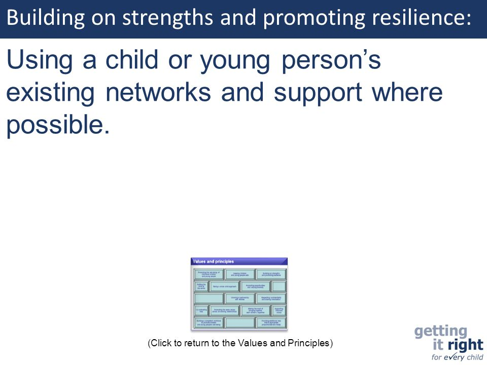 Building on strengths and promoting resilience: