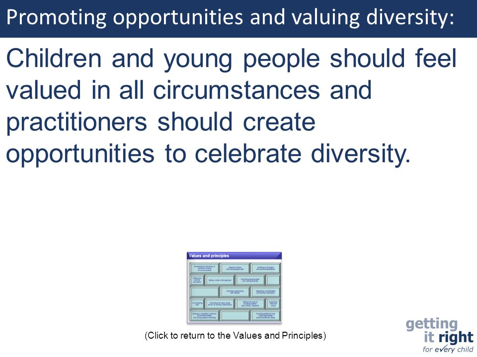 Promoting opportunities and valuing diversity: