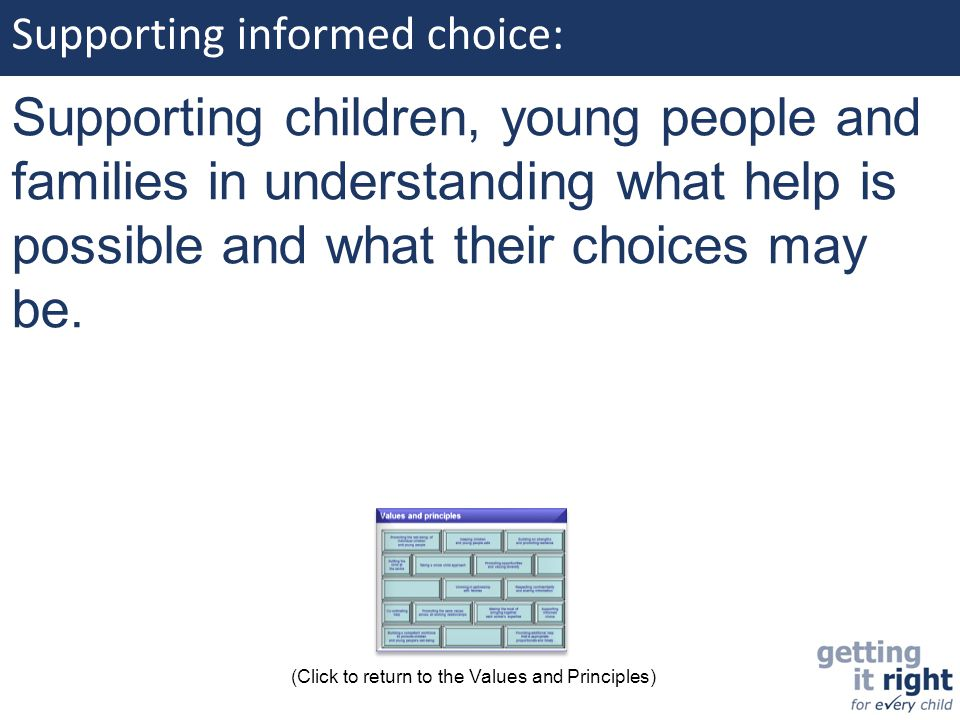 Supporting informed choice: