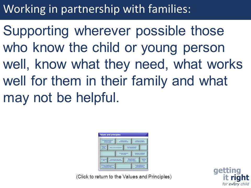 Working in partnership with families: