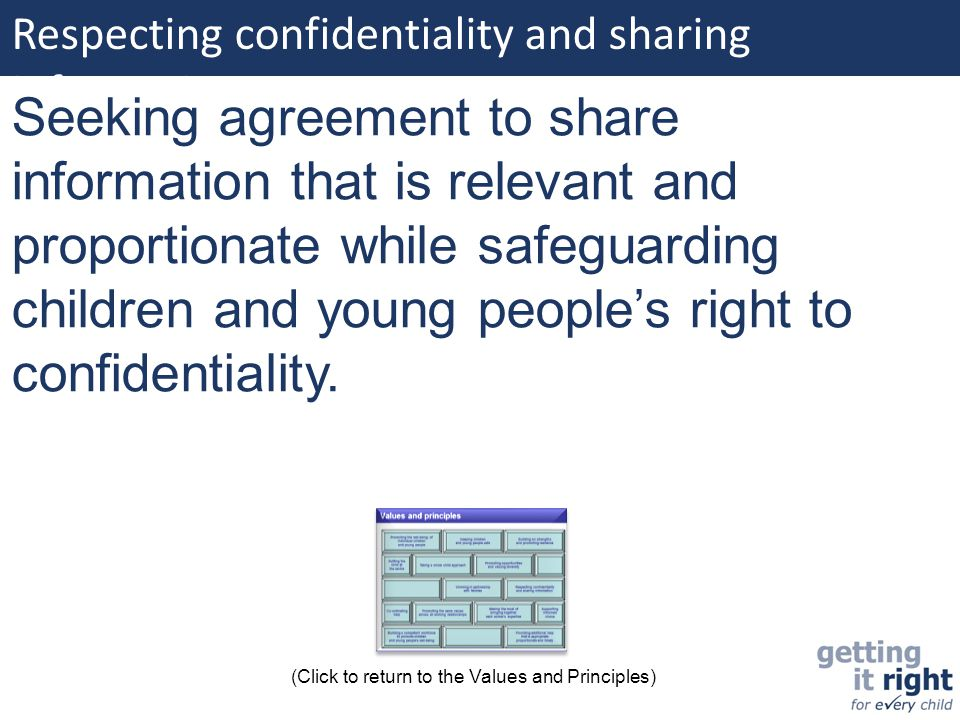 Respecting confidentiality and sharing information: