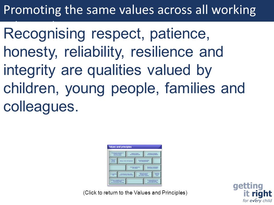 Promoting the same values across all working relationships: